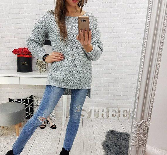 dłuższy sweter damski w kolorze szarym