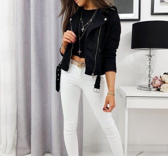 czarna ramoneska damska - stylizacja